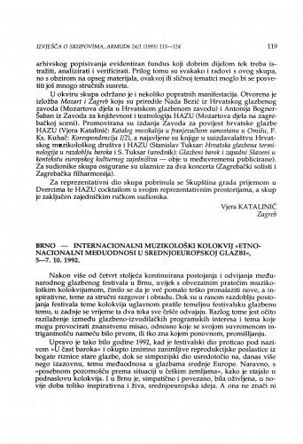 Internacionalni muzikološki kolokvij Etnonacionalni međuodnosi u srednjoeuropskoj glazbi, Brno, 5-7. 10. 1992.