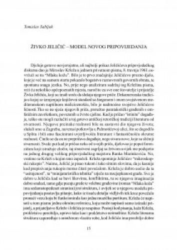 Živko Jeličić - model novog pripovijedanja
