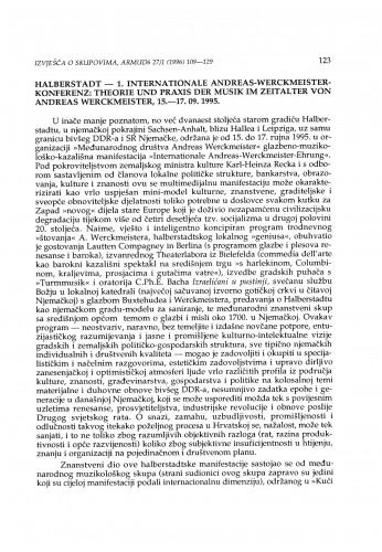 Erste Internationale Andreas-Werckmeister-Konferenz. Theorie und Praxis der Musik im Zeitalter von Andreas Werckmeister, Halberstadt, 15.-17.09.1995.