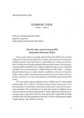 Dubravko Tadić : (1934.-2003.)