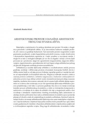 Arhitektonski prostor i današnji arhitektov trenutak stvaralaštva : [uvodno izlaganje]