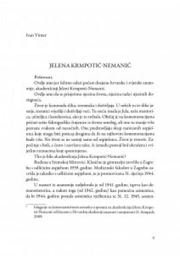Jelena Krmpotić-Nemanić : [izlaganje na komemorativnom sastanku u spomen na akademkinju Jelenu Krmpotić-Nemanić održanom u Hrvatskoj akademiji znanosti i umjetnosti 21. listopada 2009.]