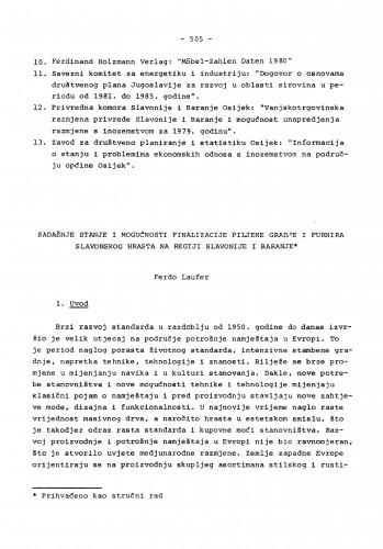 Sadašnje stanje i mogućnosti finalizacije piljene građe i furnira slavonskog hrasta na regiji Slavonije i Baranje