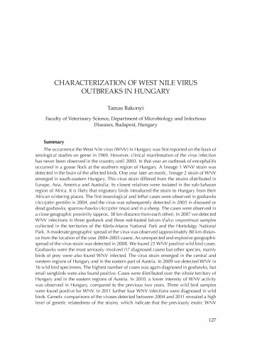 Characterization of West Nile virus outbreaks in Hungary