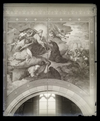 Seitz, Alexander Maximilian  : Katedrala sv. Petra (Đakovo) : Mojsije prima ploče zakona, freska u brodu [C. Angerer & Göschl  ]