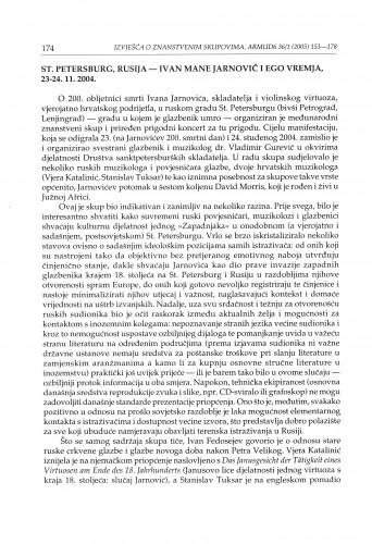 St. Petersburg, Rusija - Ivan Mane Jarnovič i ego vremja, 23.-24. 11. 2004. : [izvješće]