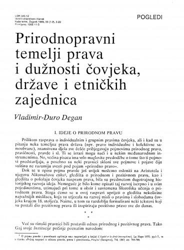 Prirodnopravni temelji prava i dužnosti čovjeka, države i etničkih zajednica : Vladimir Đuro Degan - zbirka knjiga i članaka