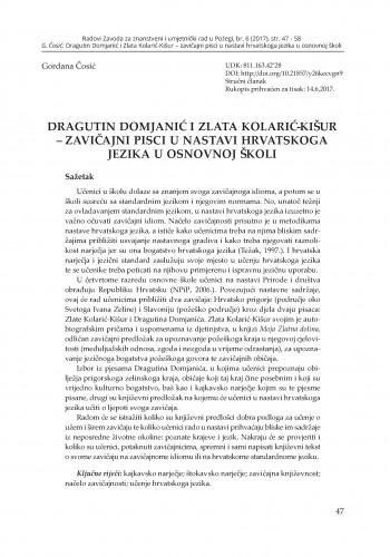 Dragutin Domjanić i Zlata Kolarić-Kišur – zavičajni pisci u nastavi hrvatskoga jezika u osnovnoj školi / Gordana Čosić