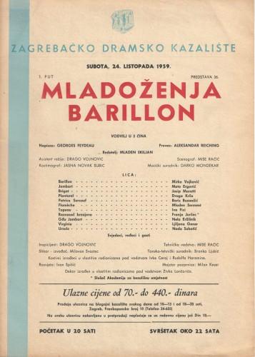 Mladoženja Barillon Vodvilj u 3 čina