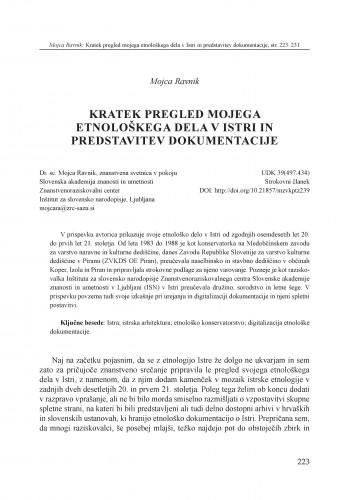 Kratek pregled mojega etnološkega dela v Istri in predstavitev dokumentacije