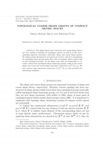 Topological coarse shape groups of compact metric spaces / Nikola Koceić Bilan, Zdravko Čuka
