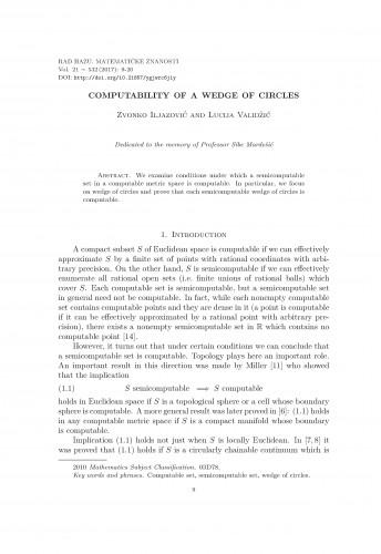 Computability of a wedge of circles / Zvonko Iljazović, Lucija Validžić