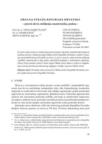 Obalna straža Republike Hrvatske : pravni okvir, mišljenja znanstvenika, praksa / Vesna Barić-Punda, Damir Juras, Irena Kardum