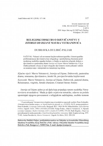 Religijski diskurs o djevičanstvu u Istoriji od Dijane Mavra Vetranovića / Dubravka Dulibić-Paljar