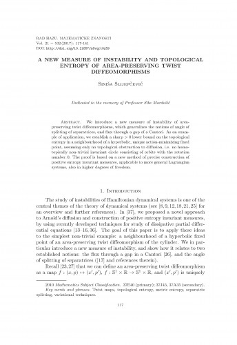 A new measure of instability and topological entropy of area-preserving twist diffeomorphisms / Siniša Slijepčević