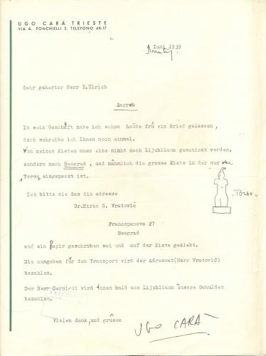 Dopis kipara Uga Care Edi Ullrichu, Trst, 4.6.1939.