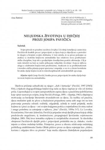 Neljudska životinja u dječjoj prozi Josipa Pavičića / Ana Batinić