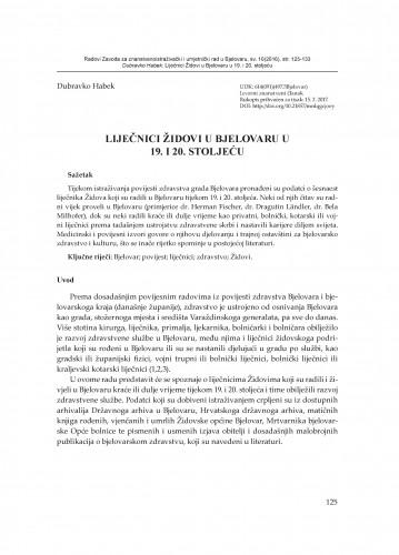 Liječnici Židovi u Bjelovaru u 19. i 20. stoljeću
