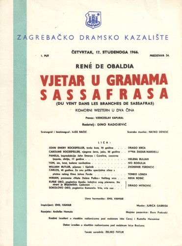Vjetar u granama Sassafrasa : Komorni western u dva čina  =  Du Vent dans les branches de Sassafras