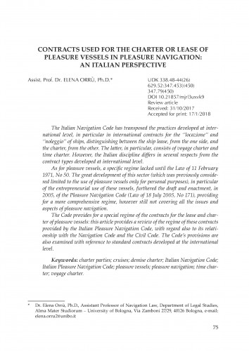 Contracts used for the charter or lease of pleasure vessels in pleasure navigation: an Italian perspective / Elena Orrù