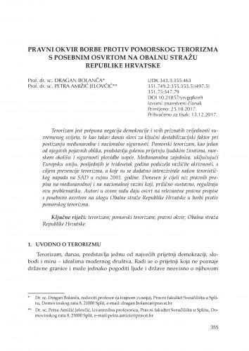 Pravni okvir borbe protiv pomorskog terorizma s posebnim osvrtom na Obalnu stražu Republike Hrvatske
