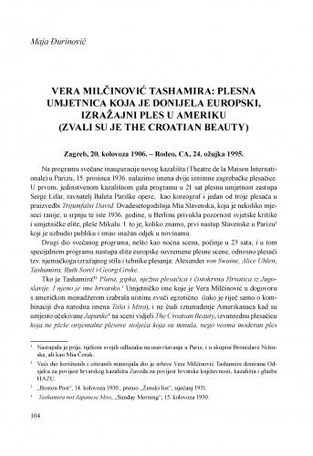 Vera Milčinović Tashamira: Plesna umjetnica koja je donijela europski, izražajni ples u Ameriku (Zvali su je The Croatian Beauty)