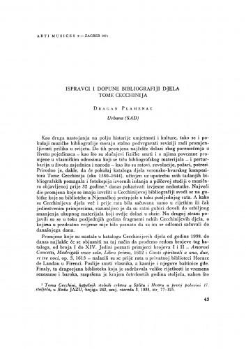 Ispravci i dopune bibliografiji Tome Cecchinija