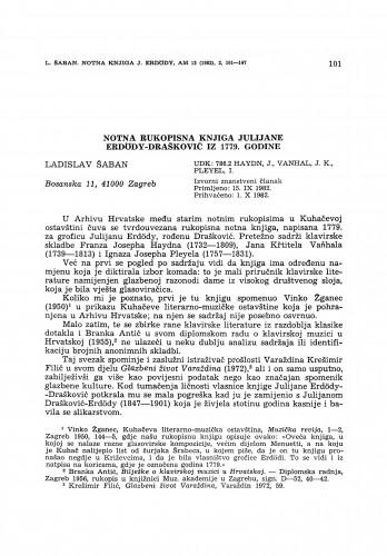 Notna rukopisna knjižica Julijane Erdödy-Drašković iz 1779. godine