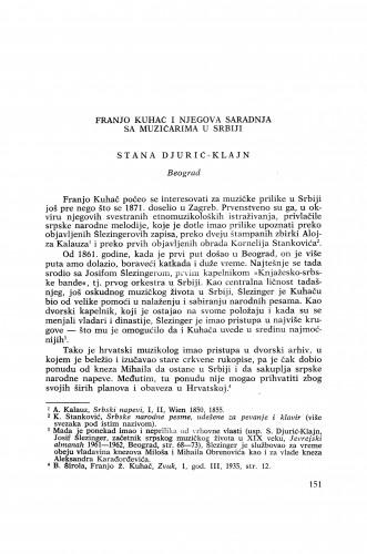 Franjo Kuhač i njegova saradnja sa muzičarima u Srbiji