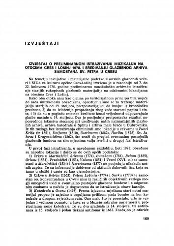 Izvještaj o preliminarnom istraživanju muzikalija na otocima Cres i Lošinj 1987. i sređivanju glazbenog arhiva samostana sv. Petra u Cresu