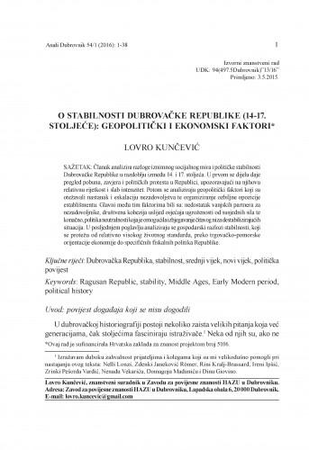 O stabilnosti Dubrovačke Republike (14.-17. stoljeće) : geopolitički i ekonomski faktori / Lovro Kunčević
