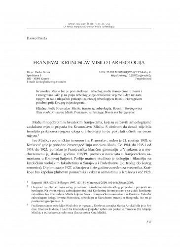 Franjevac Krunoslav Misilo i arheologija / Darko Periša