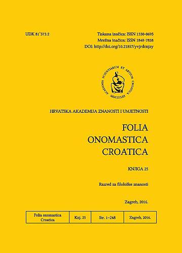 Knj. 25 (2016) : Folia onomastica Croatica