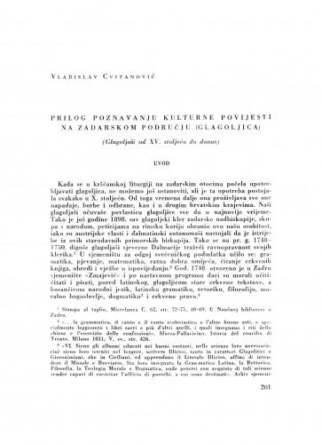 Prilog poznavanju kulturne povijesti na zadarskom području (glagoljica) : (glagoljaši od XV. stoljeća do danas)