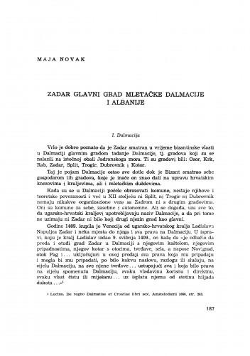 Zadar glavni grad mletačke Dalmacije i Albanije