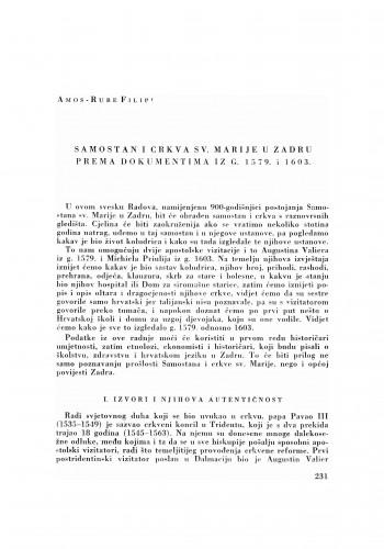Samostan i crkva sv. Marije u Zadru prema dokumentima iz g. 1579. i 1603.