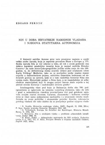 Nin u doba hrvatskih narodnih vladara i njegova statutarna autonomija