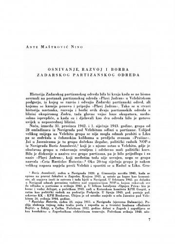 Osnivanje, razvoj i borba Zadarskog partizanskog odreda