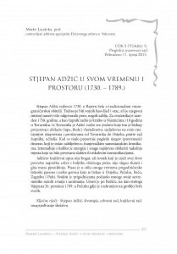 Stjepan Adžić u svom vremenu i prostoru (1730. - 1789.)