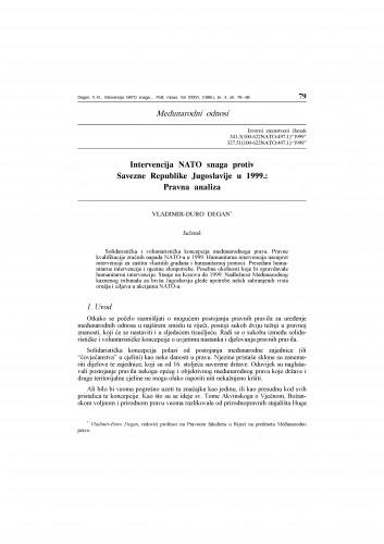 Intervencija NATO snaga protiv Savezne Republike Jugoslavije u 1999.: Pravna analiza : Vladimir Đuro Degan - zbirka knjiga i članaka