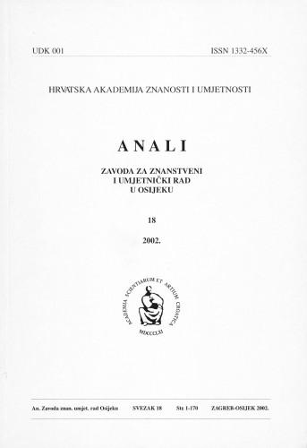Sv. 18 (2002) : Anali Zavoda za znanstveni i umjetnički rad u Osijeku
