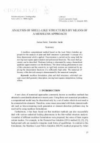 Analysis of shell-like structures by means of a meshless approach