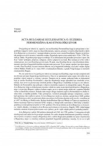 Acta Bulgariae ecclesiastica o. Euzebija Fermendžina kao etnološki izvor