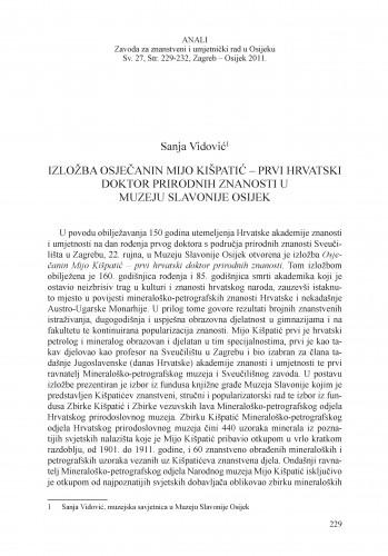 Izložba Osječanin Mijo Kišpatić - prvi hrvatski doktor prirodnih znanosti u Muzeju Slavonije Osijek