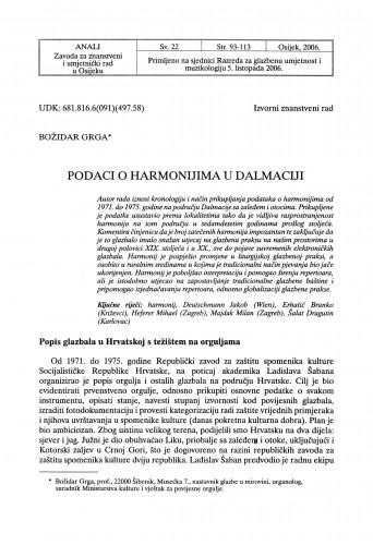 Podaci o harmonijima u Dalmaciji