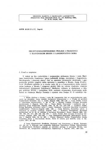 Društveno-gospodarske prilike i franjevci u Slavonskom Brodu u Lanosovićevo doba