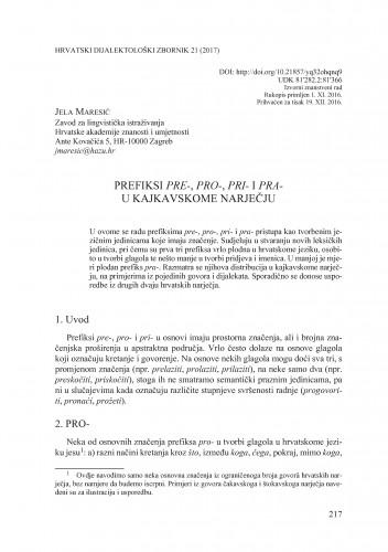 Prefiksi pre-, pro-, pri- i pra- u kajkavskome narječju