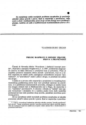 Prilog raspravi o odnosu pravde, prava i pravičnosti / Vladimir-Đuro Degan