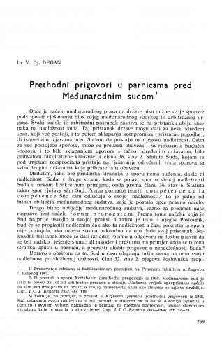 Prethodni prigovori u parnicama pred Međunarodnim sudom / V. Dj. Degan