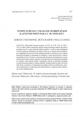 Tempo suđenja i trajanje dubrovačkih kaznenih postupaka u 18. stoljeću